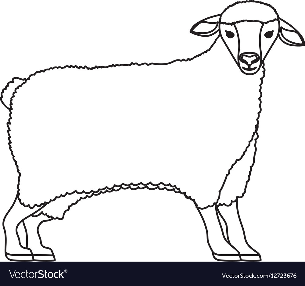 Silhouette cartoon funny of sheep posing vector image