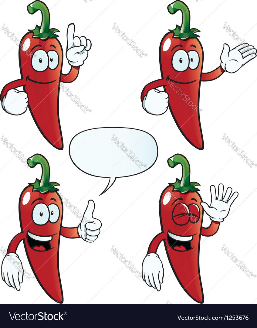 Smiling chili pepper set vector image