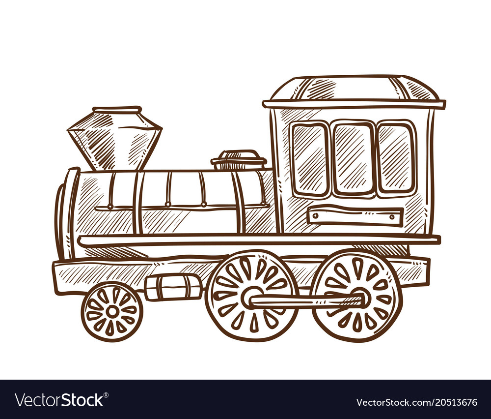 Train retro toy sketch hand drawn isolated