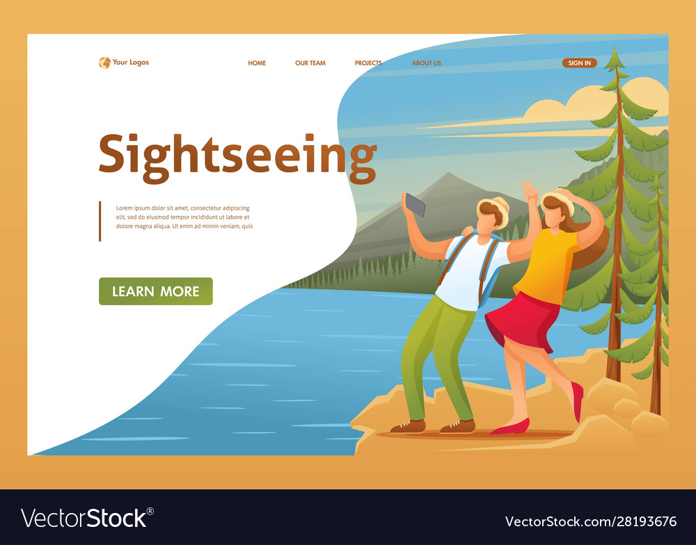 Vacationers are photographed in woods flat 2d
