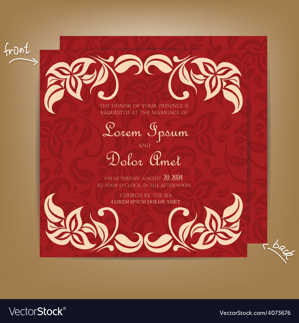 Wedding invitation with red bakground Royalty Free Vector