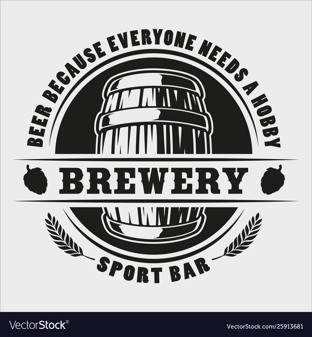 Beer barrel badge on white background