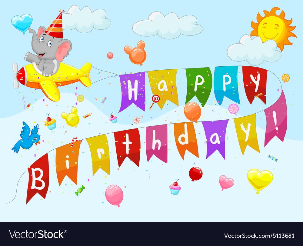 Birthday background with elephant on plane vector image