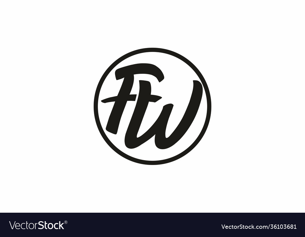 Black fw initial letter in circle logo