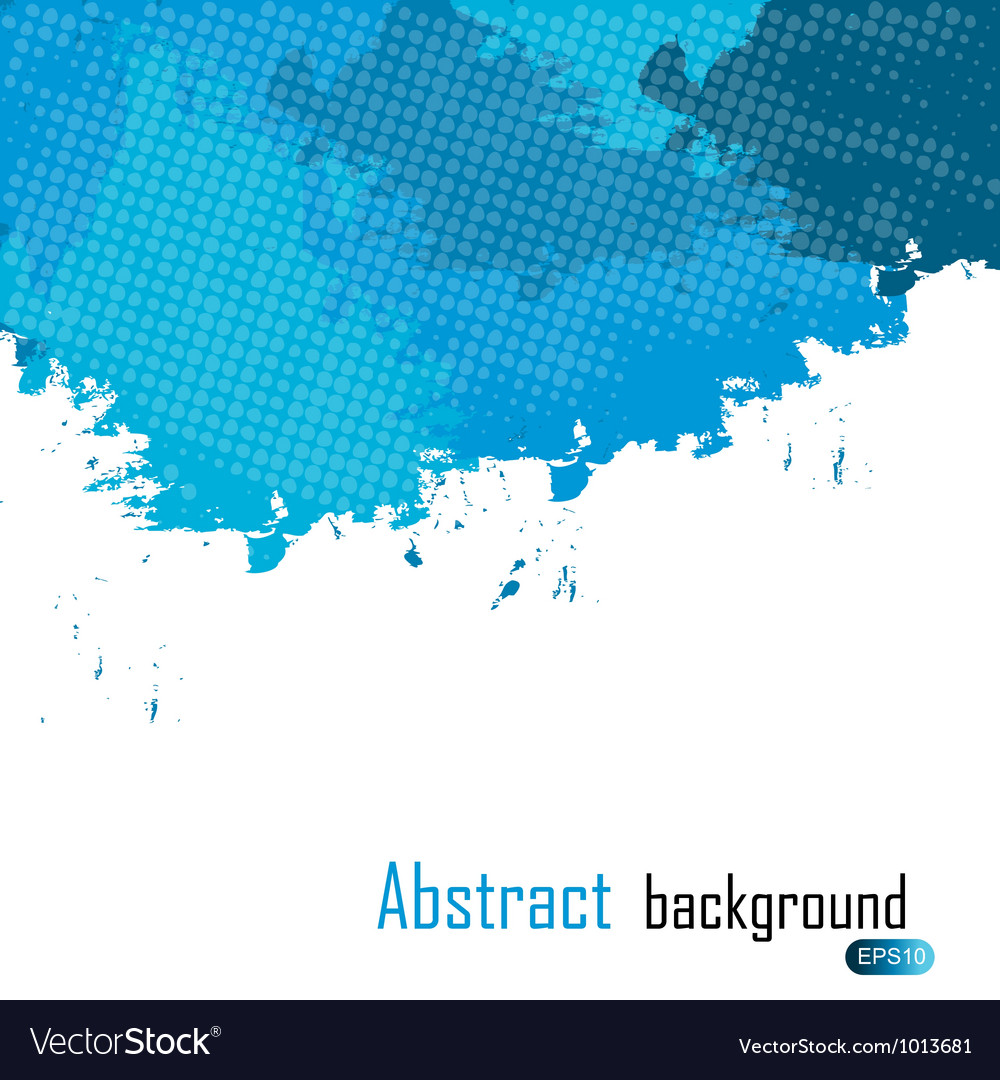 Blue abstract paint splashes background wit vector image