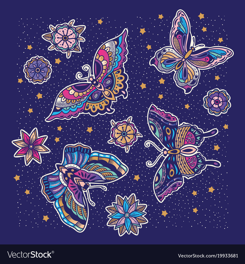 Collection of butterfly and flower tattoo in old
