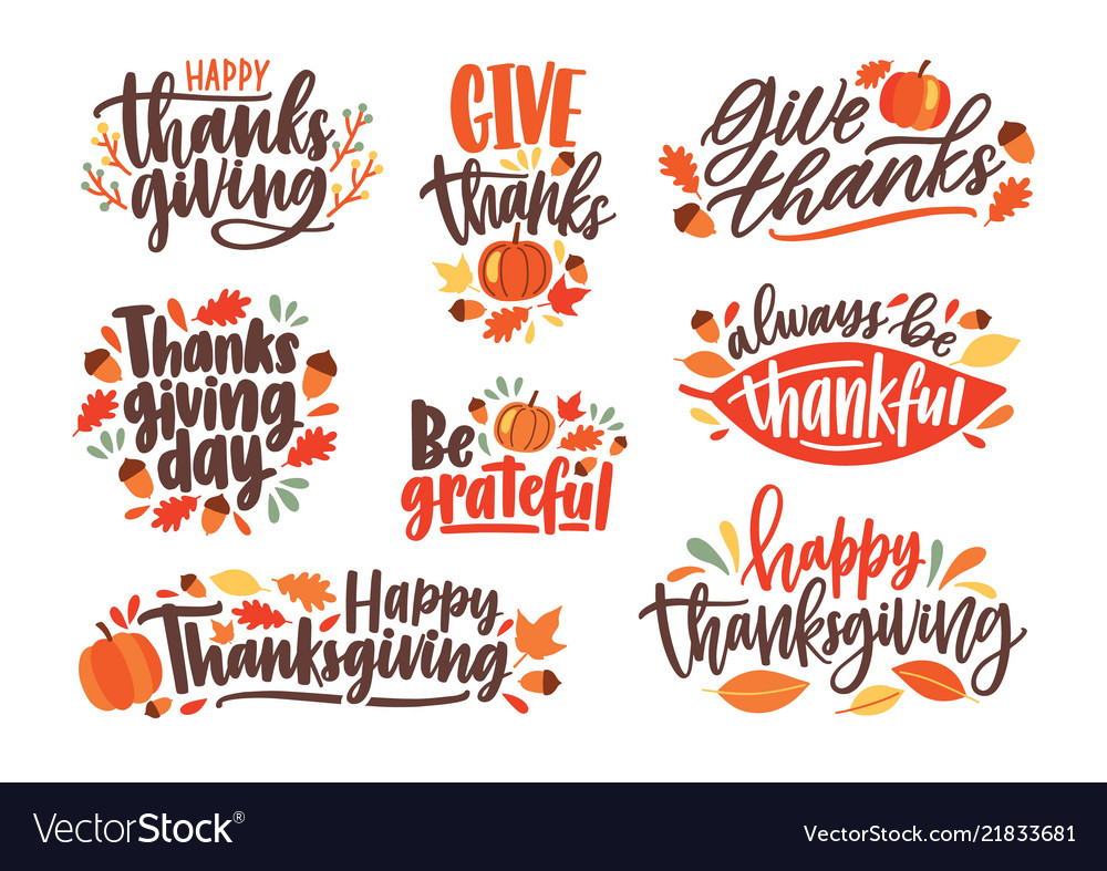 Collection of thanksgiving day letterings