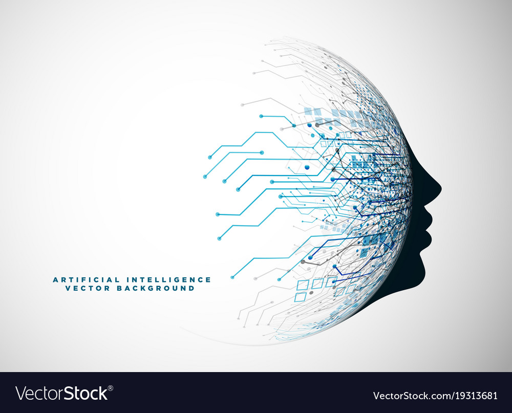 Futuristic digital face for artificial