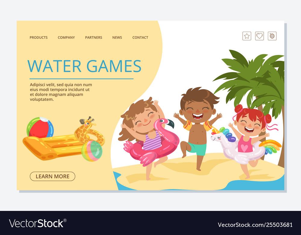 Kids water games landing page template