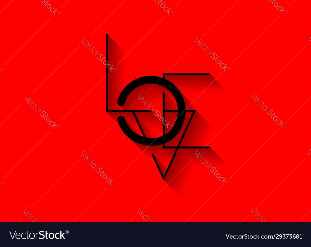 Love line art minimalist text icon valentines logo