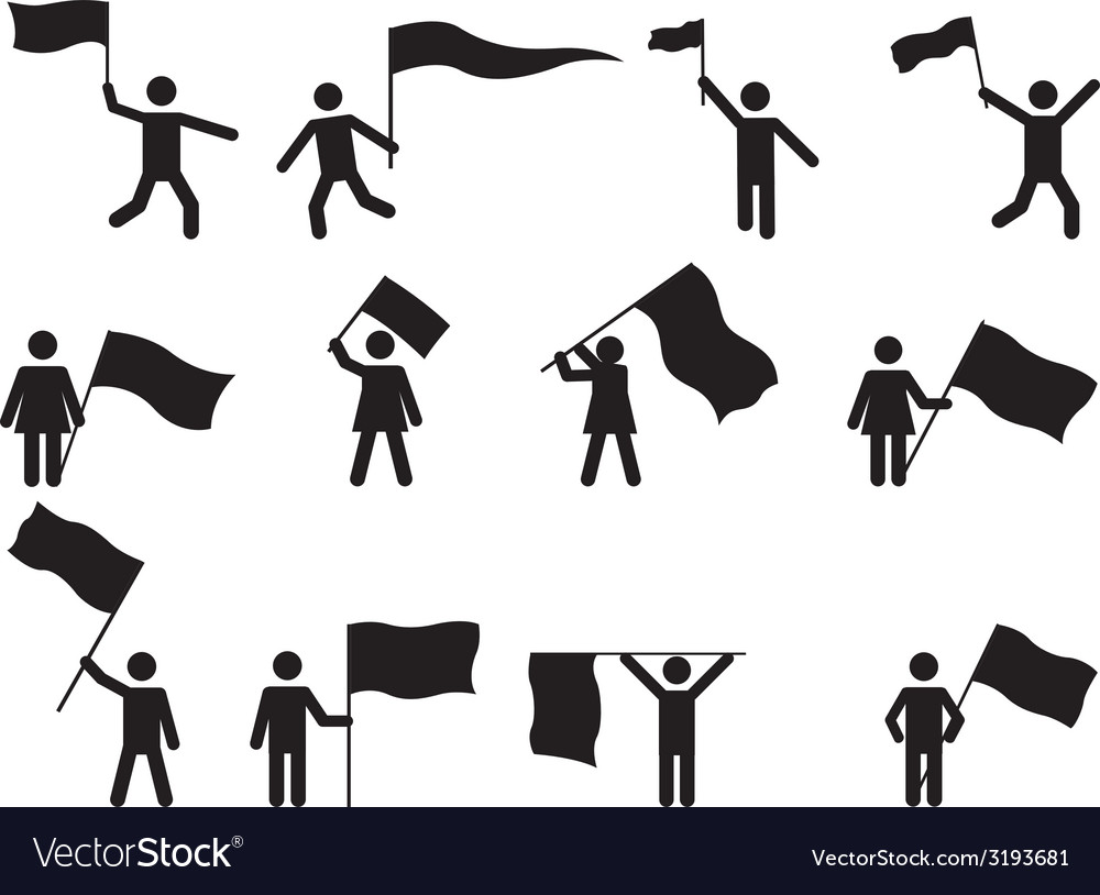 Pictogram people carrying flags vector image