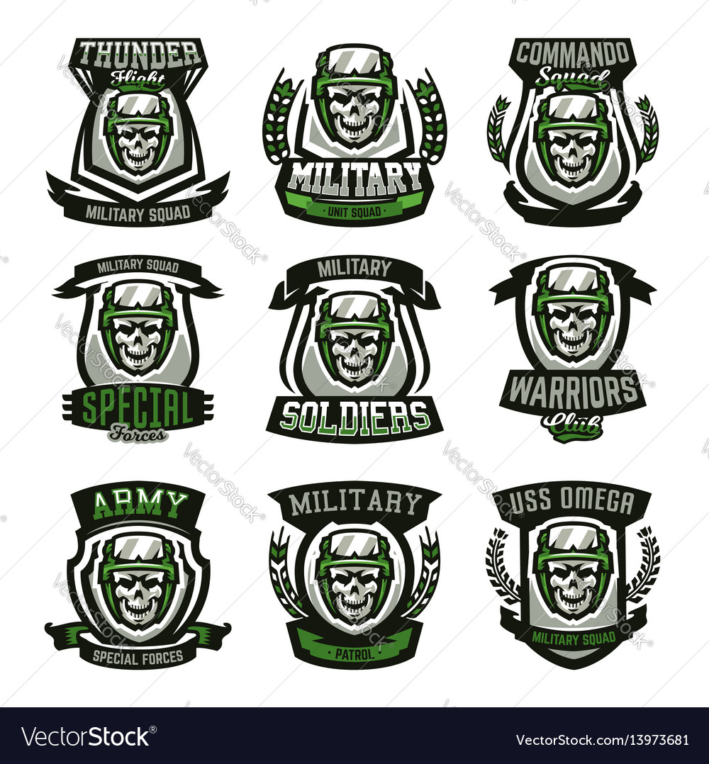 Set of military logos emblems skull helmet