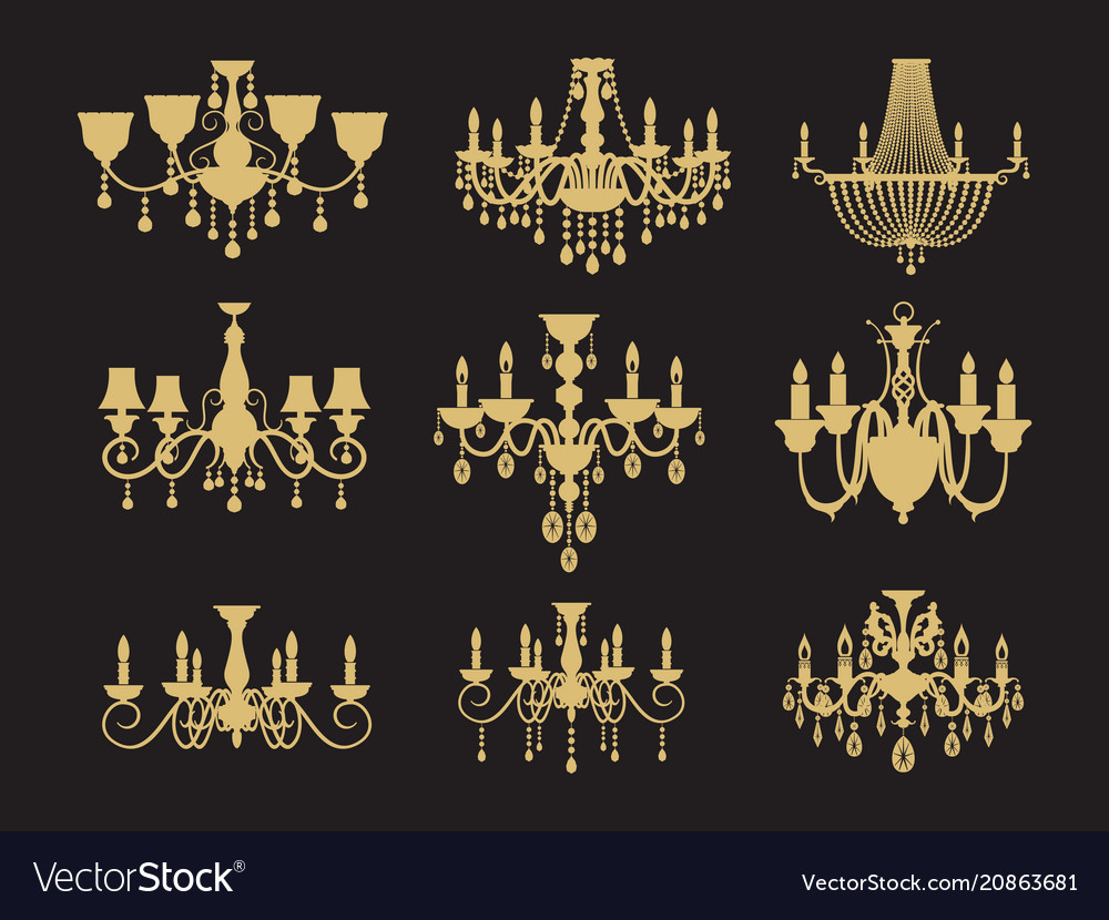 Set of vintage chandeliers isolated on black vector image