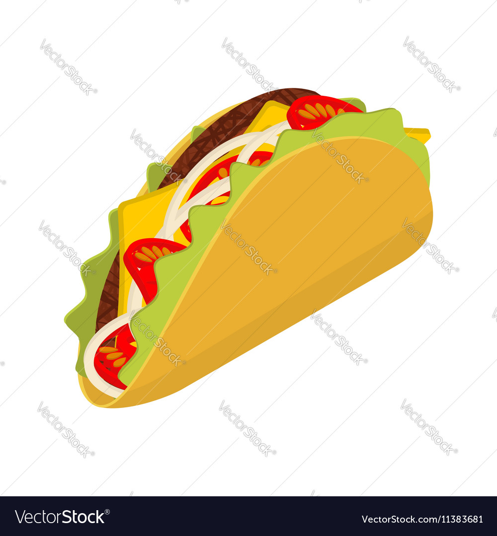 Taco isometrics on white background Traditional vector image