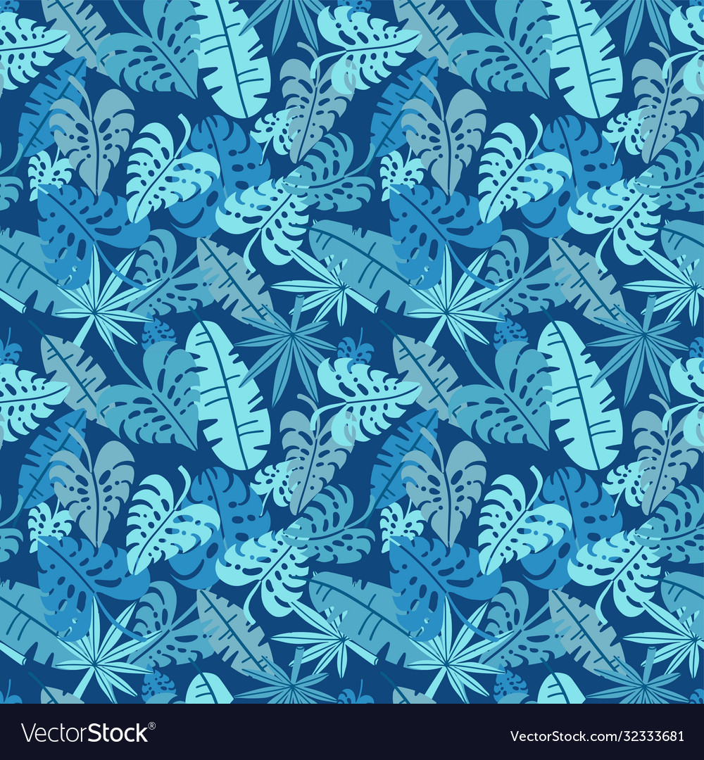 Tropical seamless pattern palm leaves floral