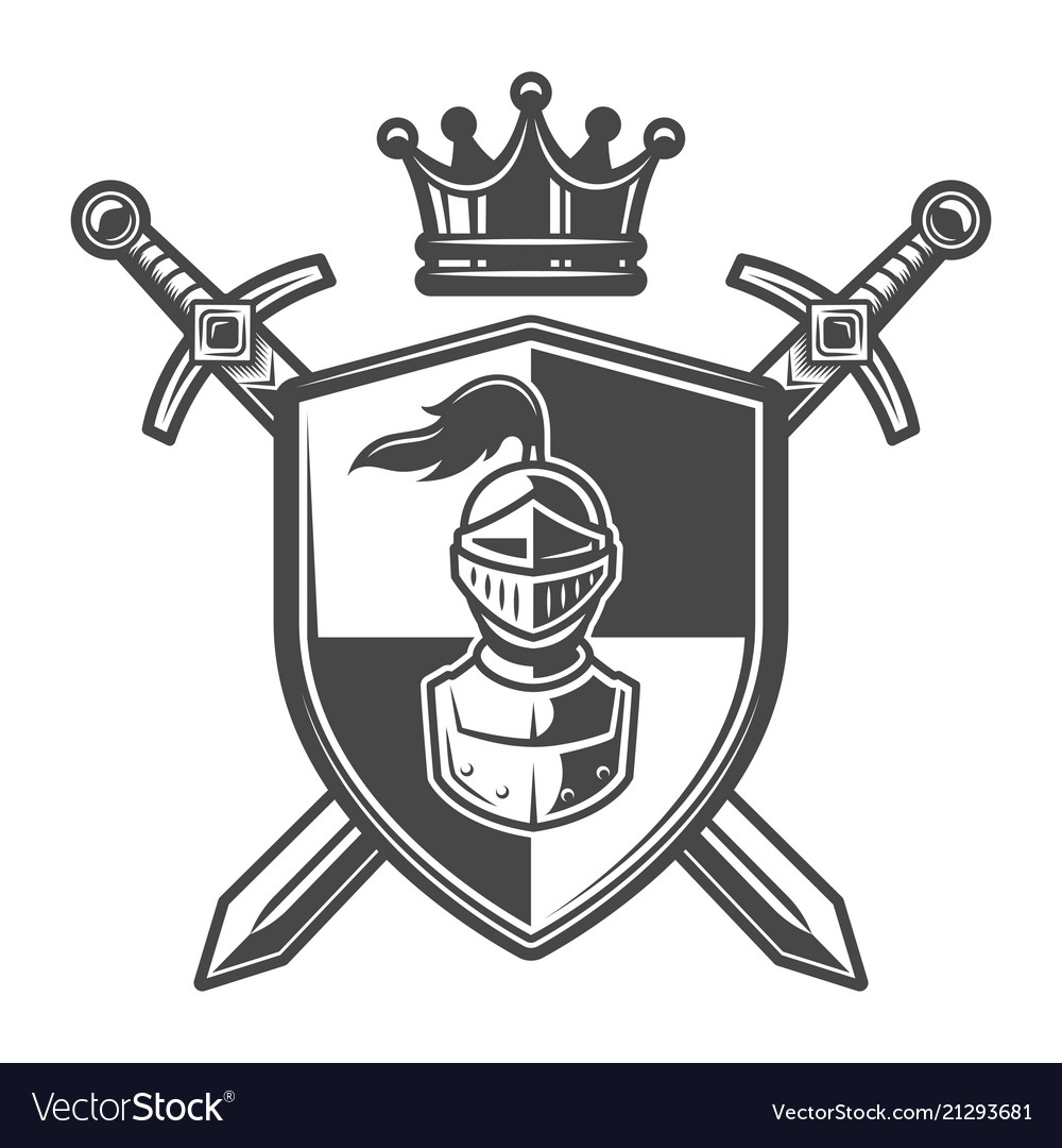 Coat of arms knight helmet. Vintage monochrome