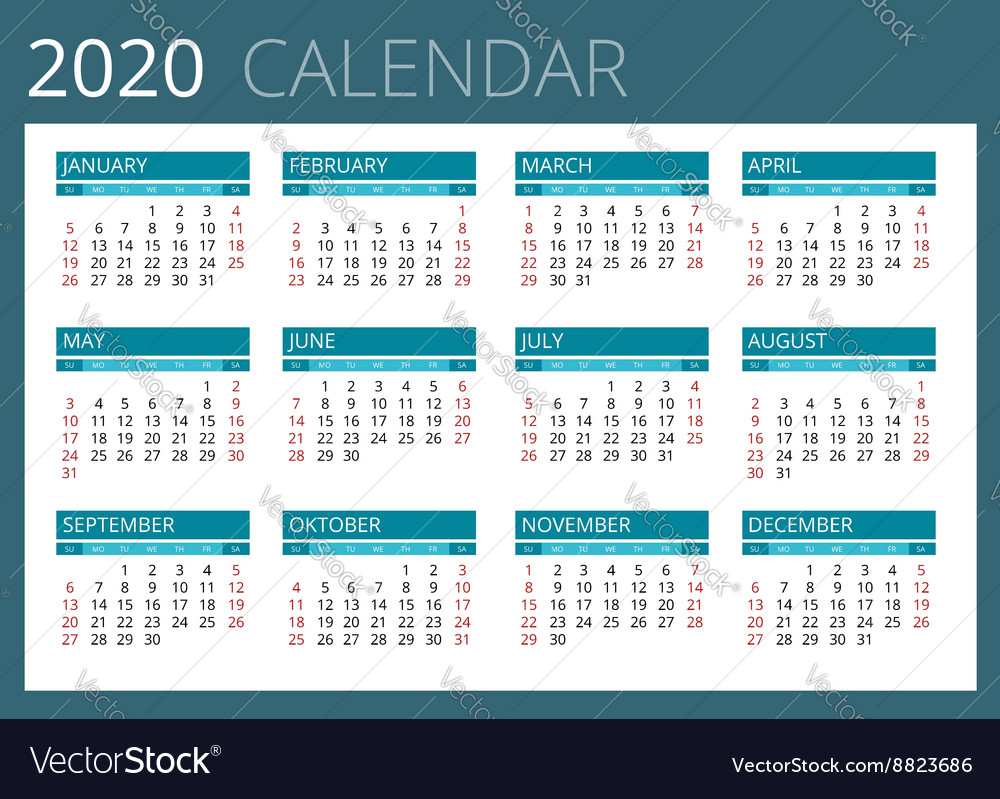 2020 Calendar By Weeks Calendar for 2020 Week Starts Sunday Simple Vector Image