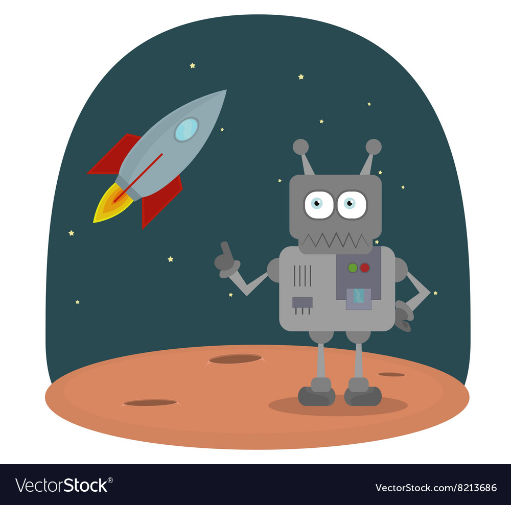 Cartoon character of robot on planet in