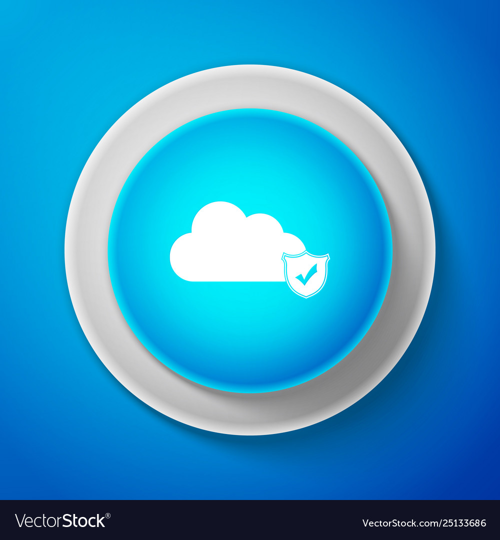 Cloud and shield with check mark icon on blue