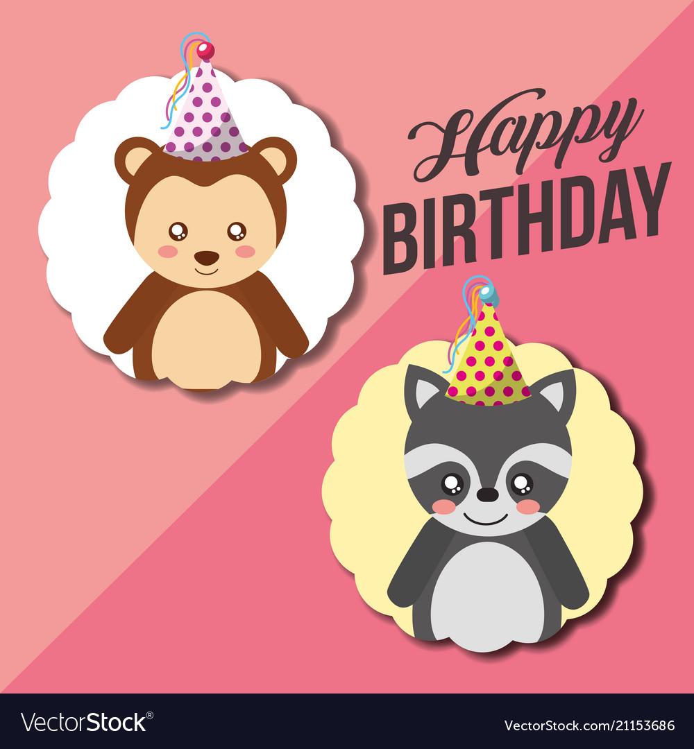 Cute Animal Happy Birthday Royalty Free Vector Image