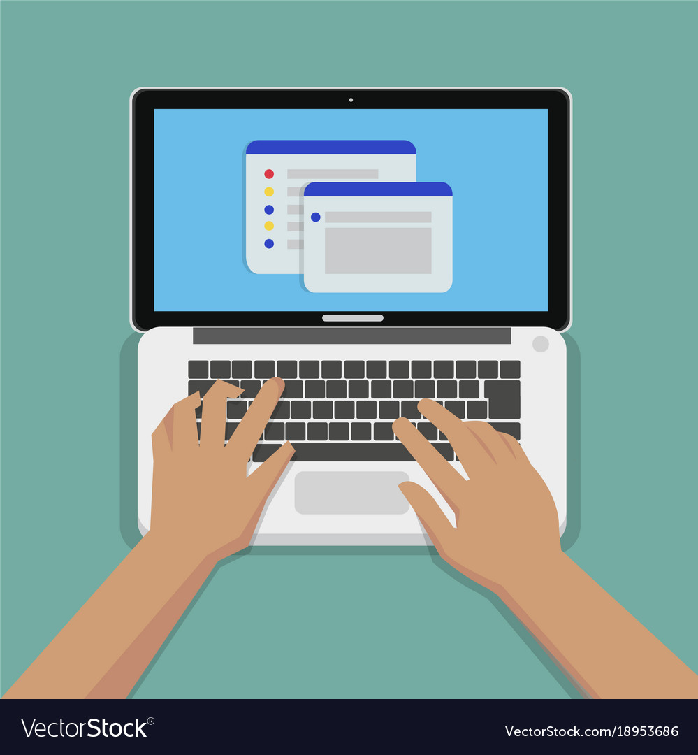 flat hands typing on white keyboard with laptop vector image