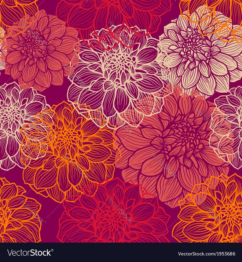 Hand-drawn flowers dahlia seamless pattern