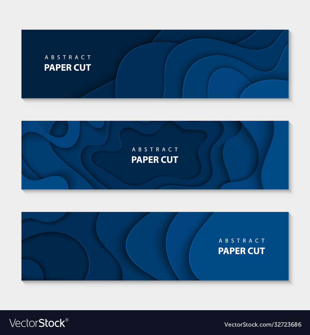 Paper cut waves shape abstract template trendy