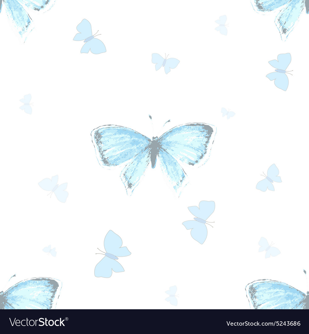 Seamless pattern with blue copper-butterfly
