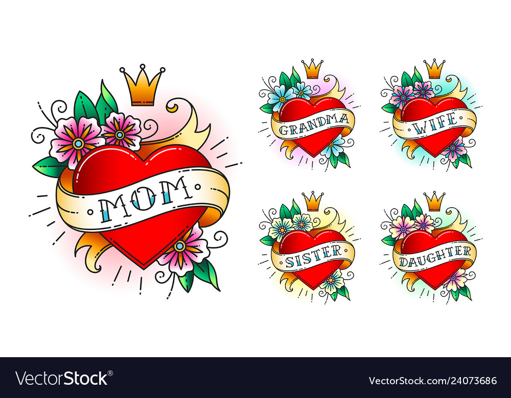 99bd335e6 Set of classic tattoo heart Royalty Free Vector Image