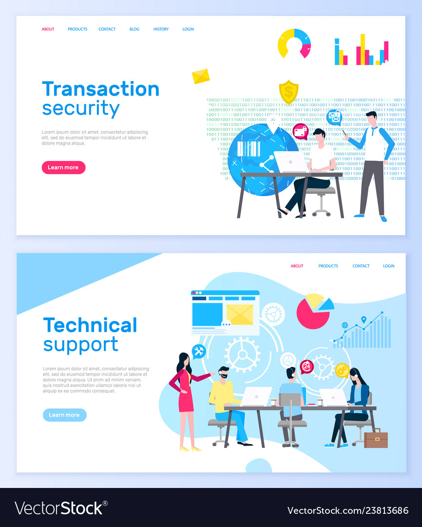 Transaction security and technical support pages