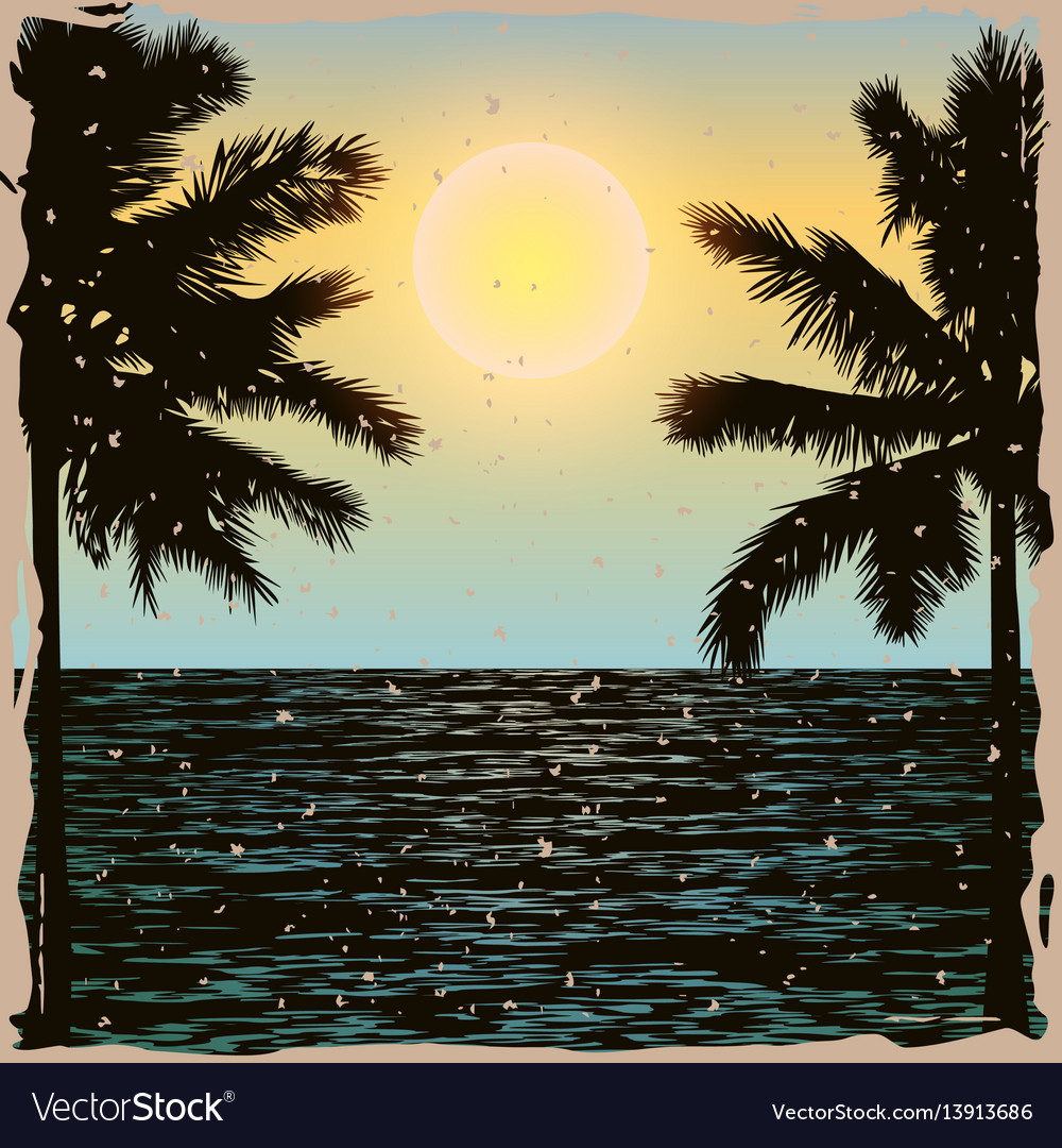 Tropical day vintage poster