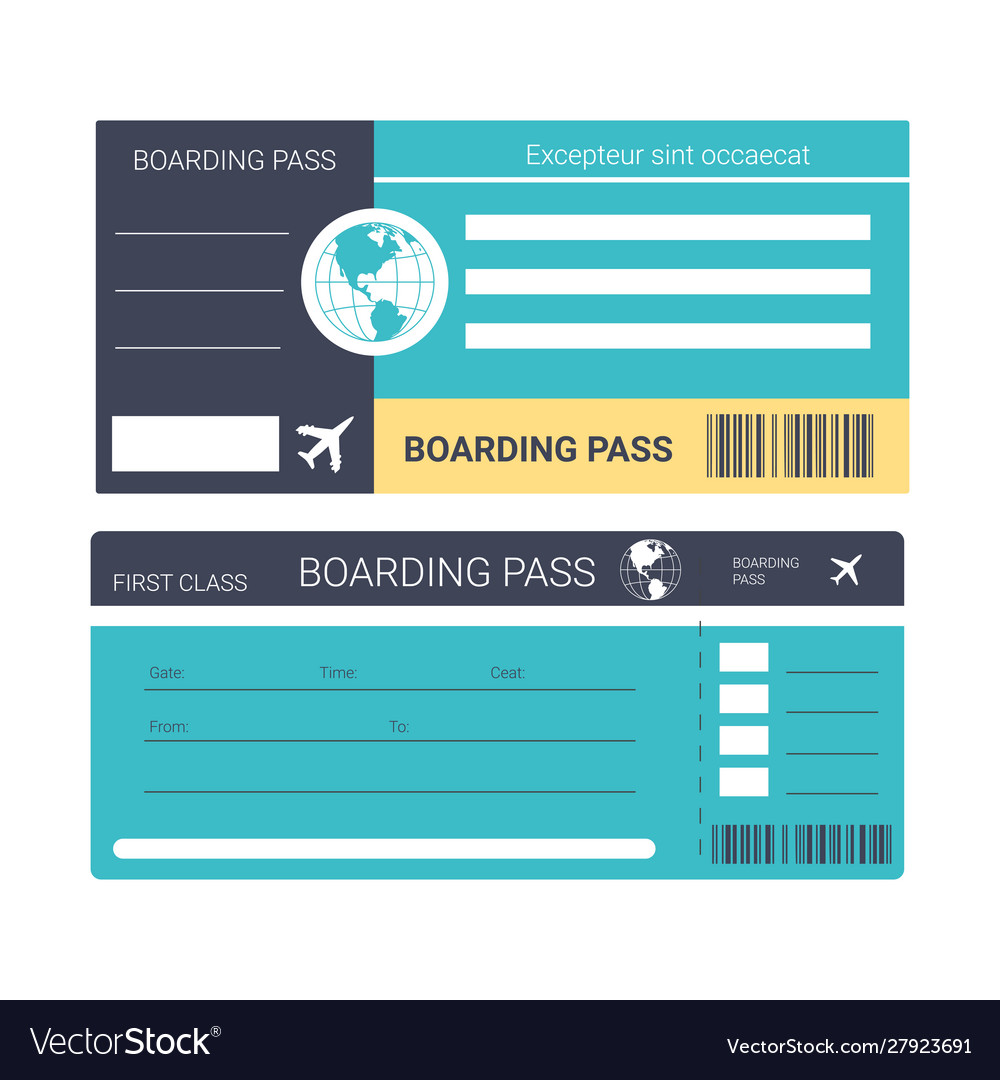 Airplane ticket or boarding pass isolated icons