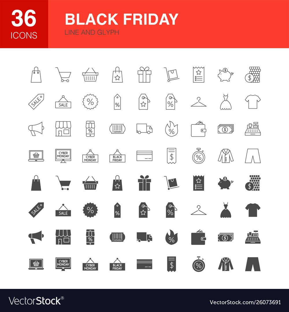Black friday line web glyph icons