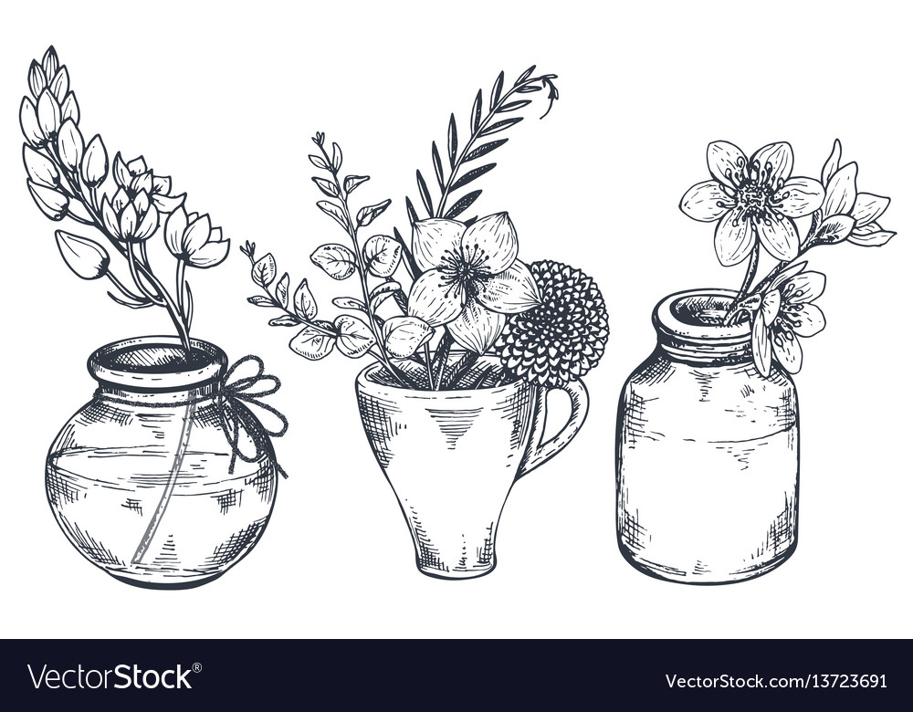 Bouquets with hand drawn flowers and plants in