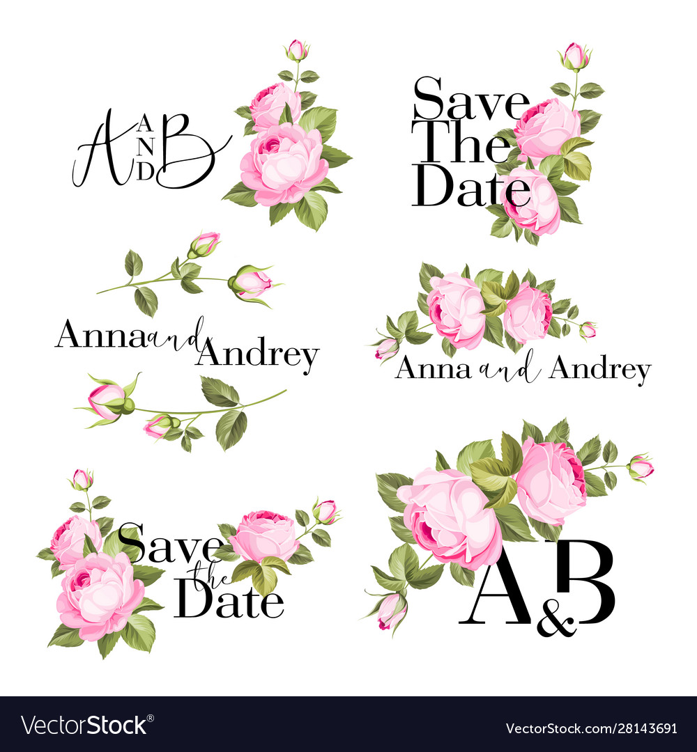 Bundle cards with flower rose leaves