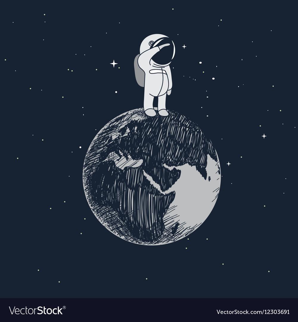 Cartoon little astronaut standing on the Earth Vector Image
