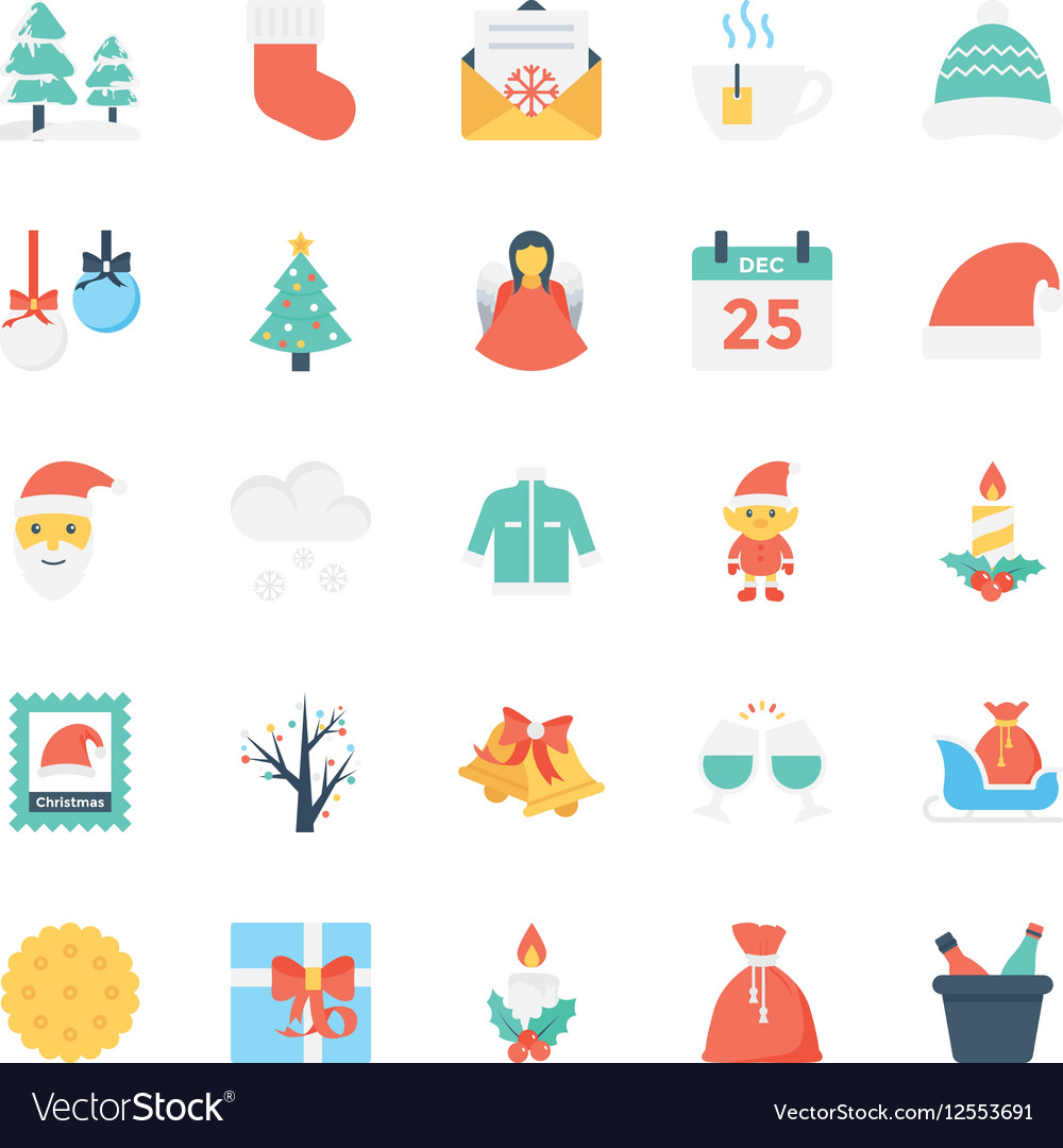 Christmas Colored Icons 2 vector image