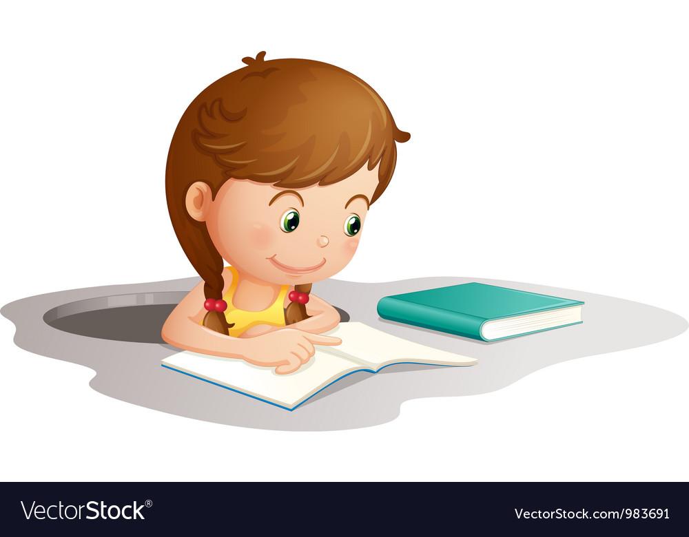 Girl reading book vector art - Download vectors - 983691
