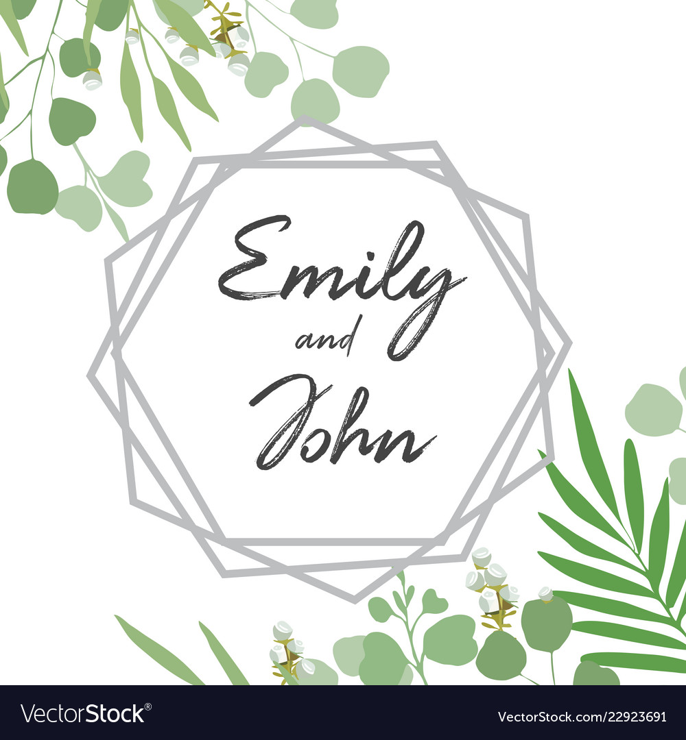 Greenery card with foliage template