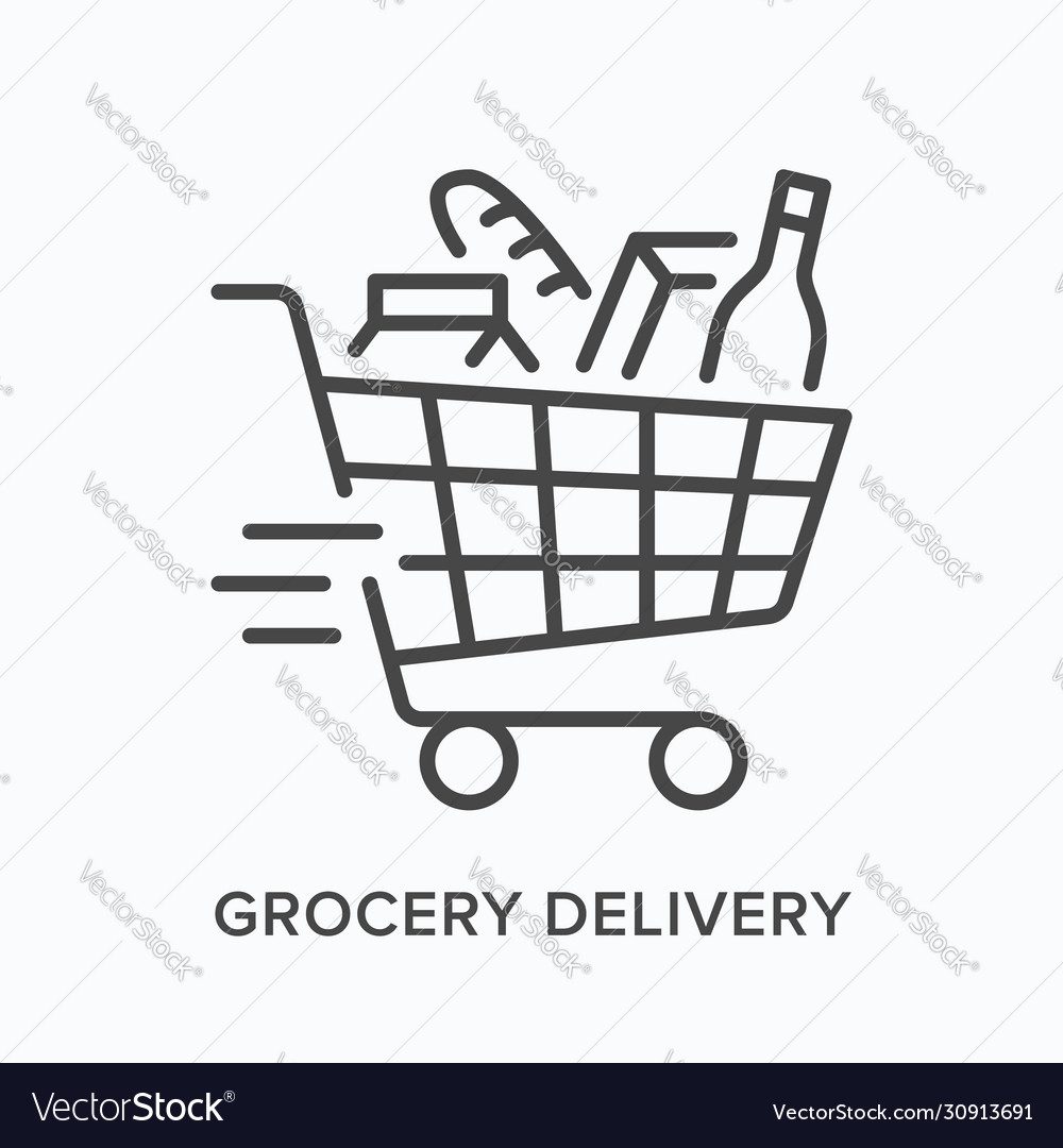 Grocery delivery line icon outline