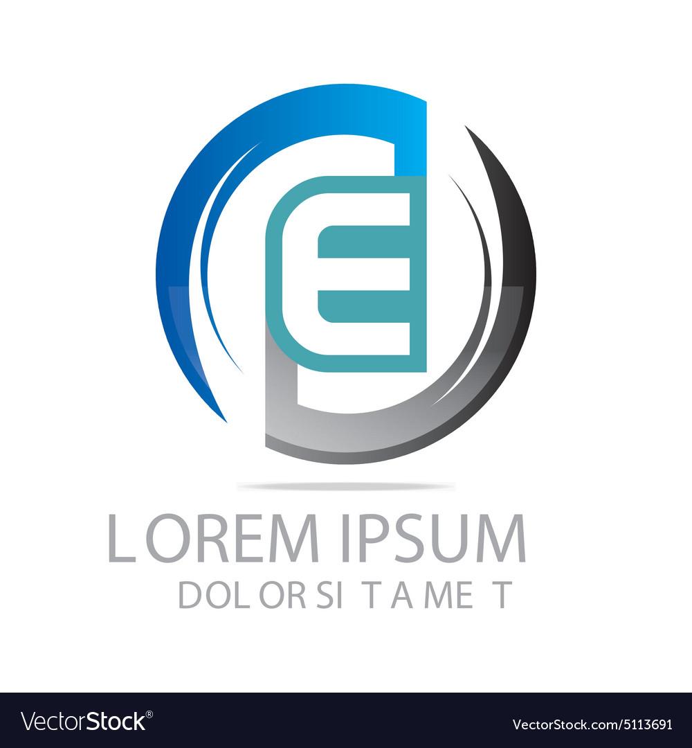 Letter e circle logo design vector image