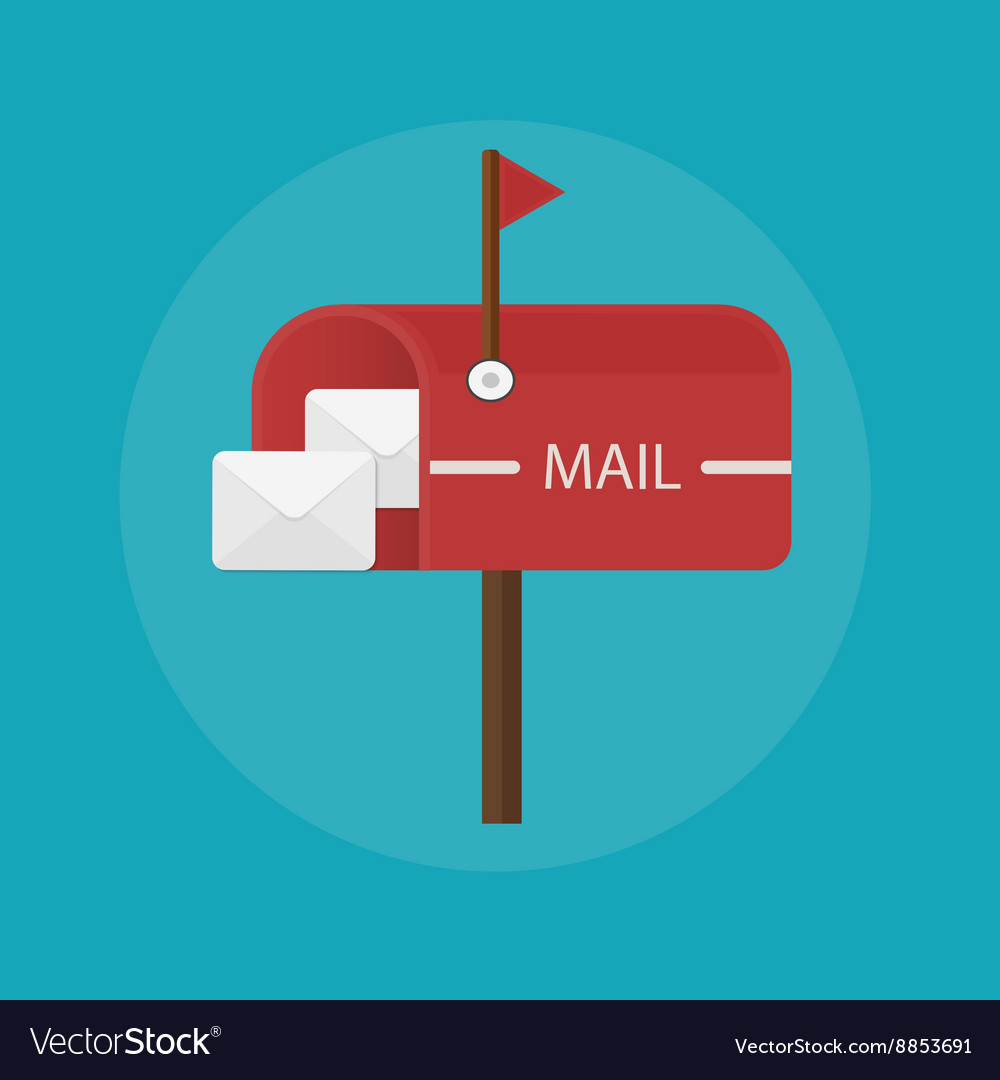 Mail box post icon Flat design