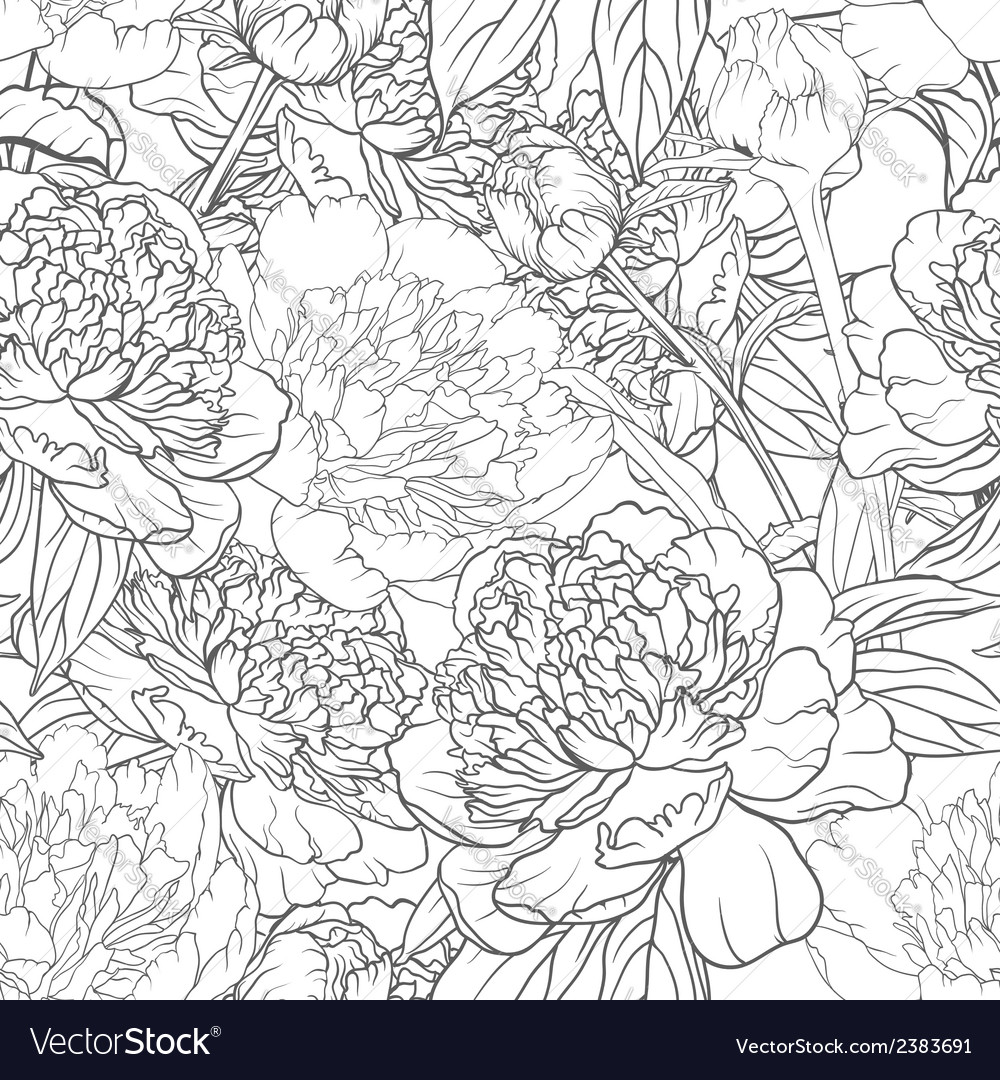 Seamless monochrome floral pattern with peonies