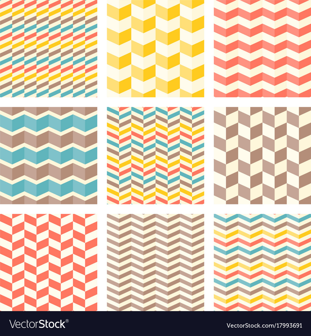 Set chevron and zigzag seamless pattern