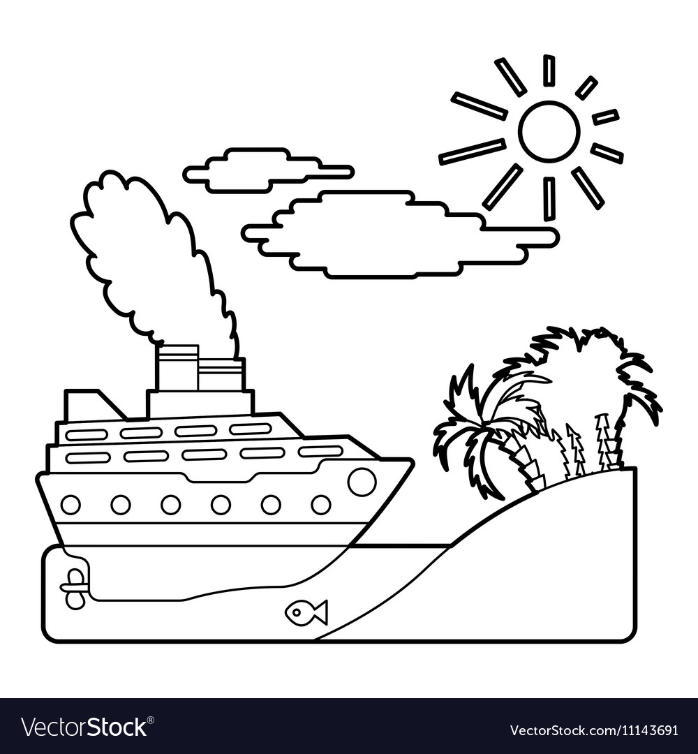 Ship in sea near island concept outline style