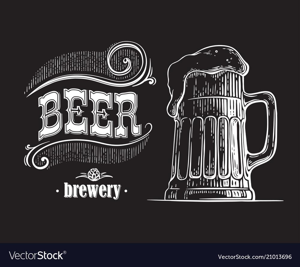 Beer mug filled with beer vintage