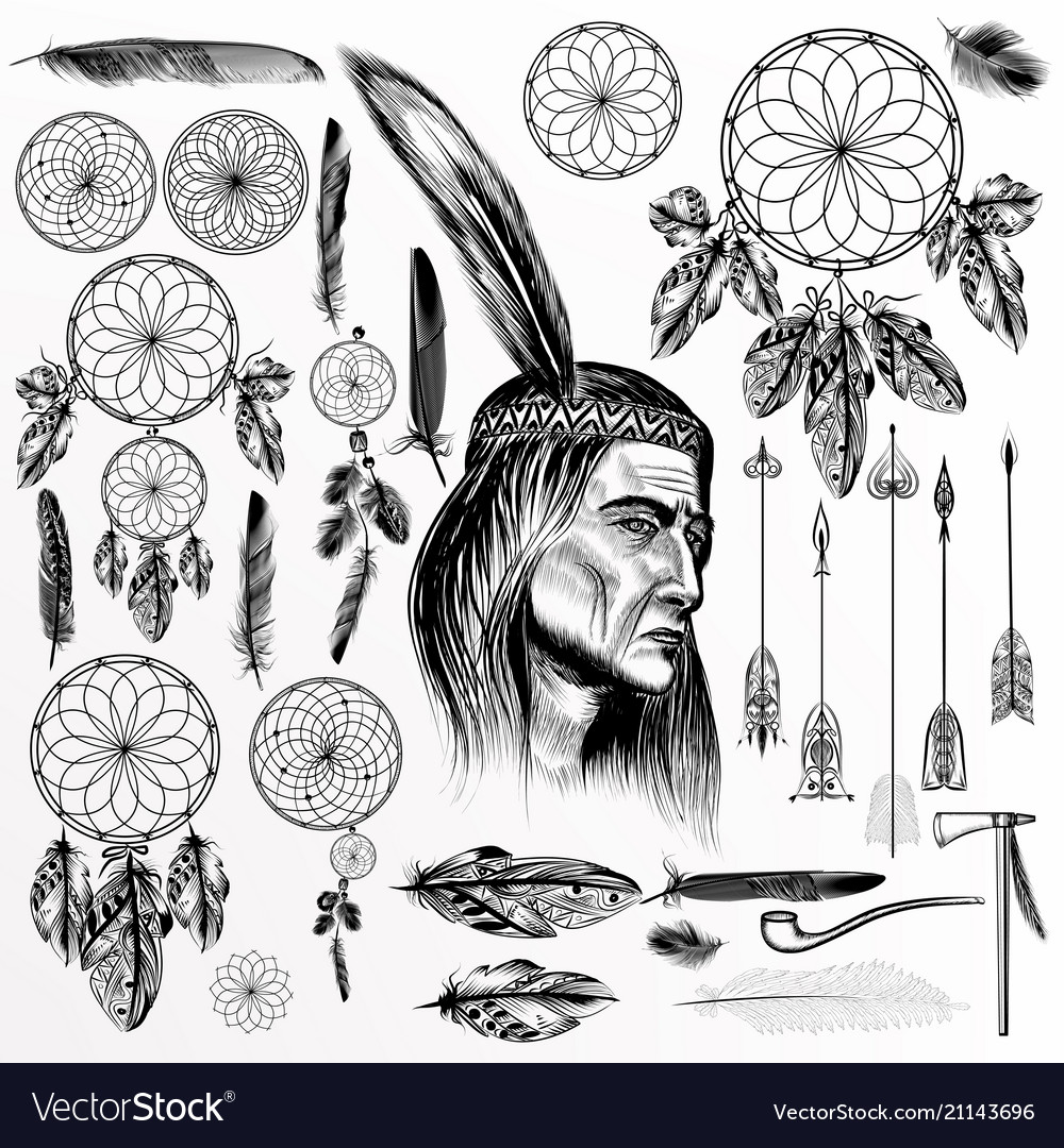 Big collection or set of hand drawn tribal objects
