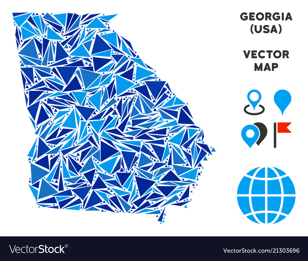 Blue Triangle American State Georgia Map Vector Image