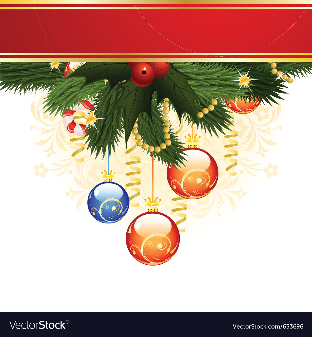 christmas card with fir mistletoe and decoration f vector image