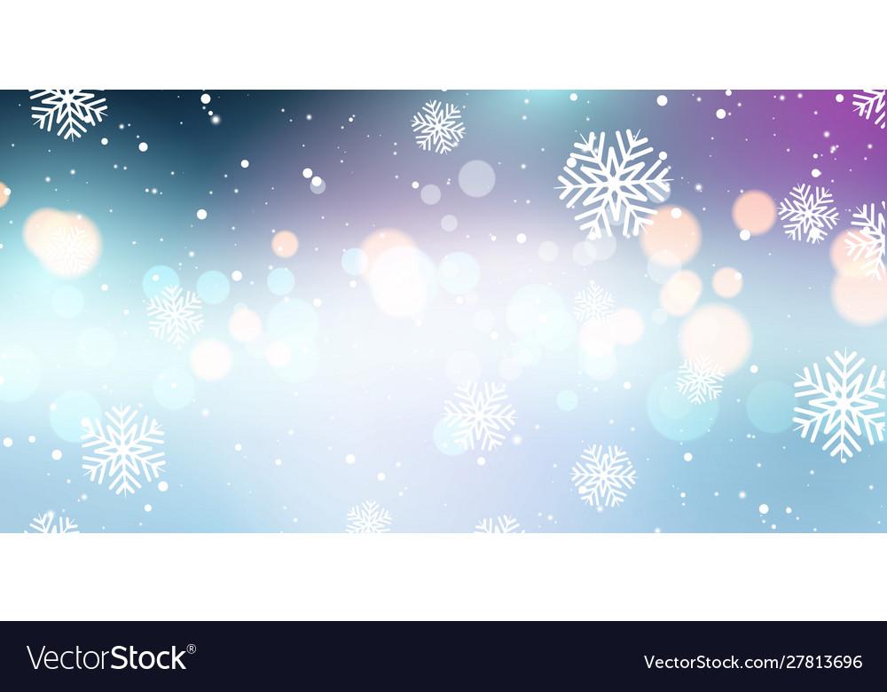 Christmas snowflakes and bokeh lights banner
